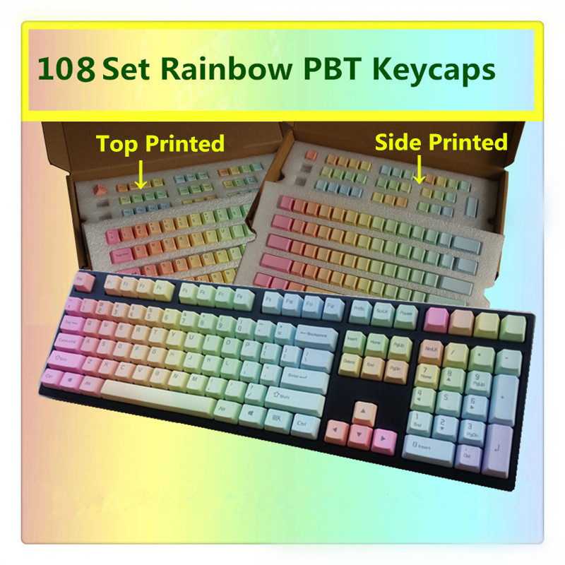 Rainbow Keycaps PBT Top/Side/Front Printed Cherry MX Key Caps For MX Switches Tenkeyless 87/104/108 Keys Mechanical Keyboards