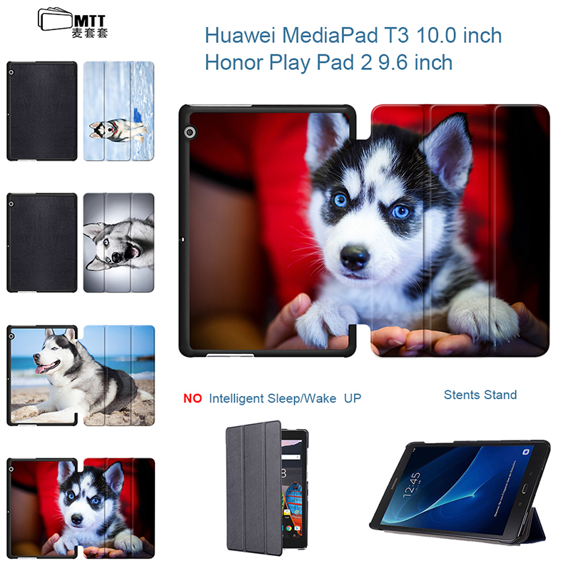Husky Dog Fashion painted Pu leather stand Cover Case For Huawei Honor Play Pad 2 9.6 inch Tablet MediaPad T3 10 AGS-L09 AGS-L03