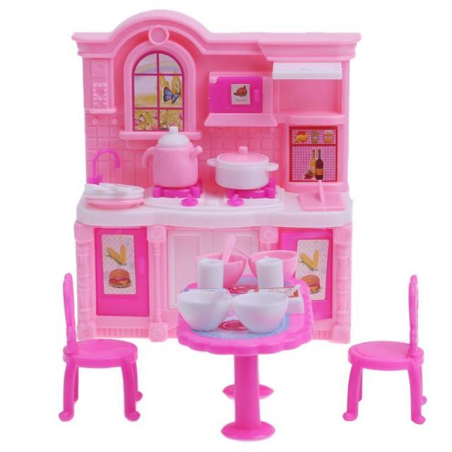Simulazione Dollhouse Mobili Da Cucina Per Barbie Set Tavolo Da ...