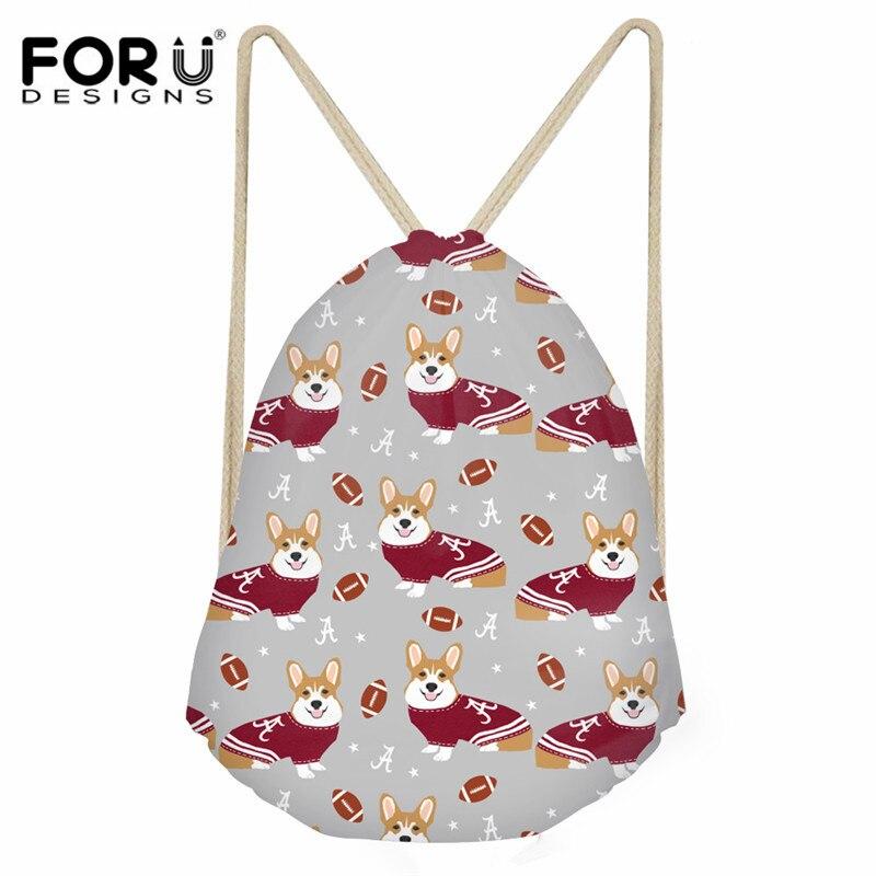 FORUDESIGNS Cute Corgi Printed Women Drawstring Bag Fashion Small String Backpack For Kids Girls Boys School Bag Daily Sack Bag