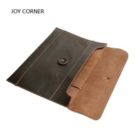 Office Folder Cow Leather Mens Document Bag With Elastic Closure Folder Have Inner Zipper Pocket JOY