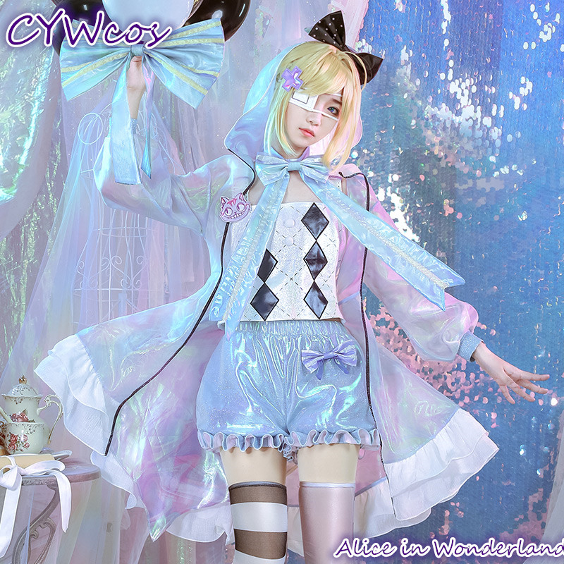 Alice in Wonderland Laser Boy Alice Cosplay Costume Girl Lovely Halloween Costumes Top+Coat+Shorts+Socks+Headdress