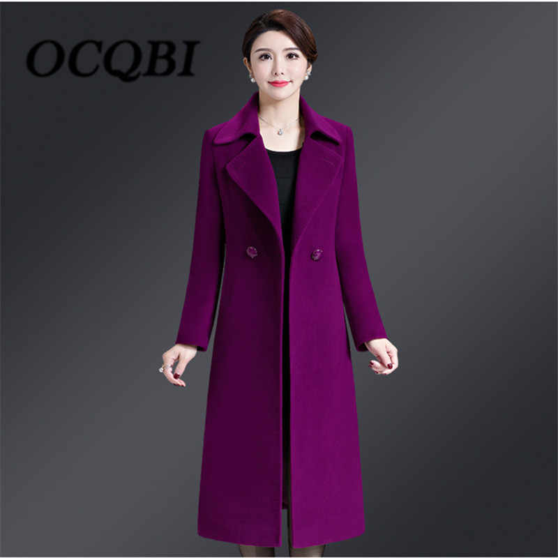2018 Winter Wool Slim Coat Korean Style High Quality Elegant Women New Arrival Clothes 4xl Coat