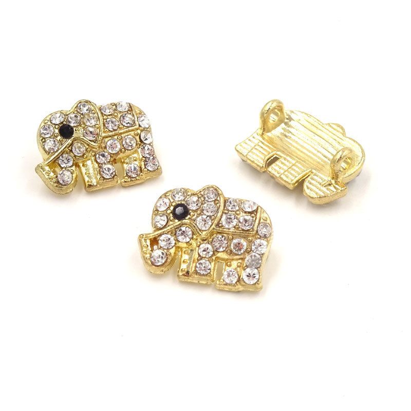 Gold Plated Elephant Charms Rhinestone Connector 15512mm Conector