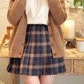 2016 saia Plissada xadrez corpete saia curta outono e inverno saias de cintura alta da saia da menina estudante