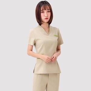 Image 5 - Spa üniforma şevval özçelik çalışma giyim takım teknisyeni sauna banyo ayak banyosu masaj ayak kısa kollu üniforma