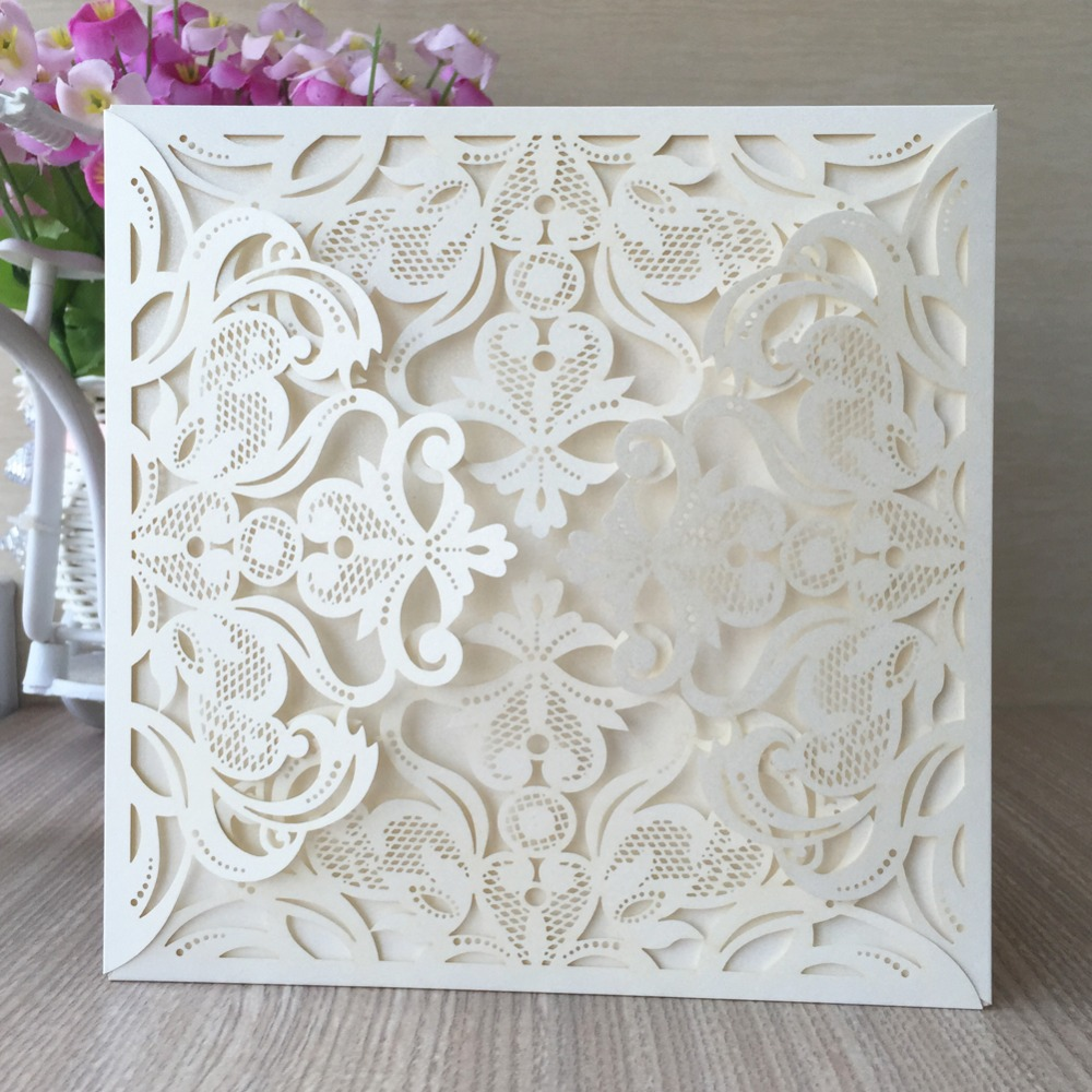 21 Color 100pcs Red White Gold Elegant Carved Flower Four Folds ...