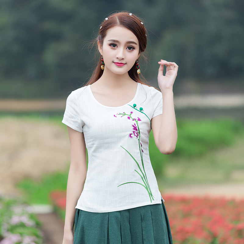 Women Summer White Linen Short Sleeve Slim O-Neck Shirt Chinese Style Embroidery Blouse Hot Sale Leisure Clothing M-4XL