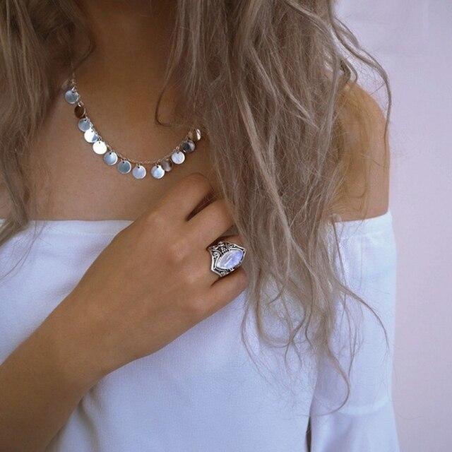 Vintage Silver Big Stone Bohemian Ring