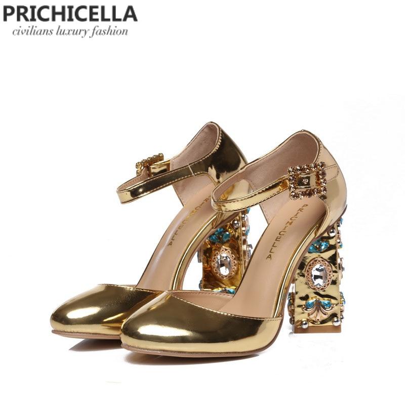 Prichicella уникальные женские из кожи золотого цвета strass Украшенные на не сужающемся книзу массивном каблуке сандалии с ремешками на пряжках