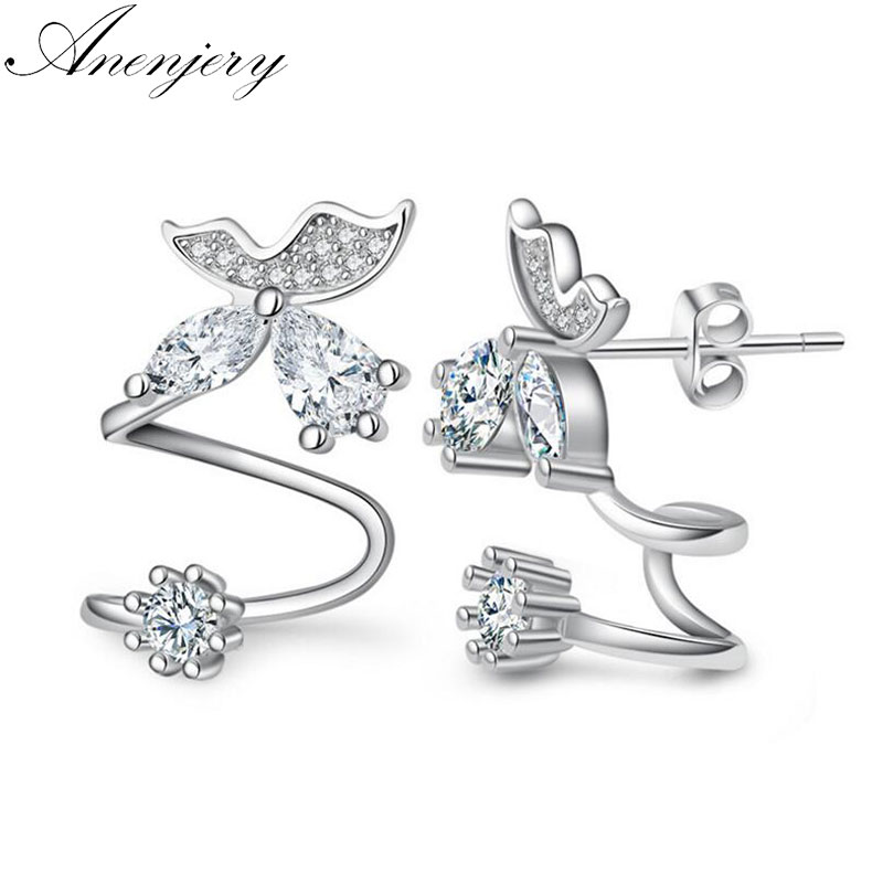 Anenjery 925 Sterling Silver Butterfly Shiny CZ Zircon Stud Earrings For Women pendientes oorbellen boucle doreille Gift S-E333