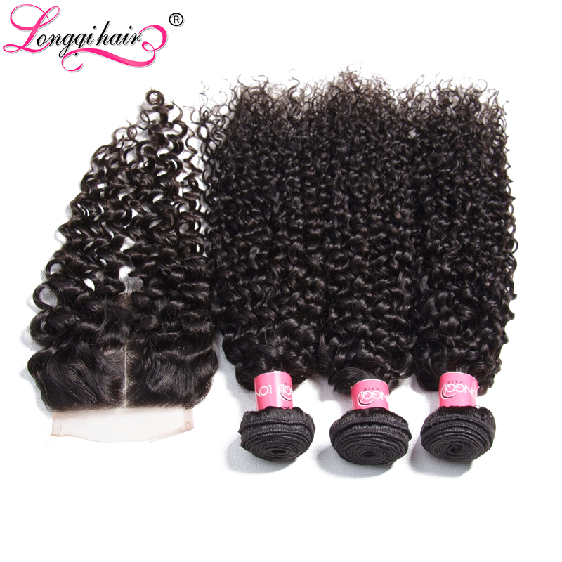 Longqi Hair Malaysian Curly Bundles with Closure Free Part Middle Part Three Part Remy Human Hair