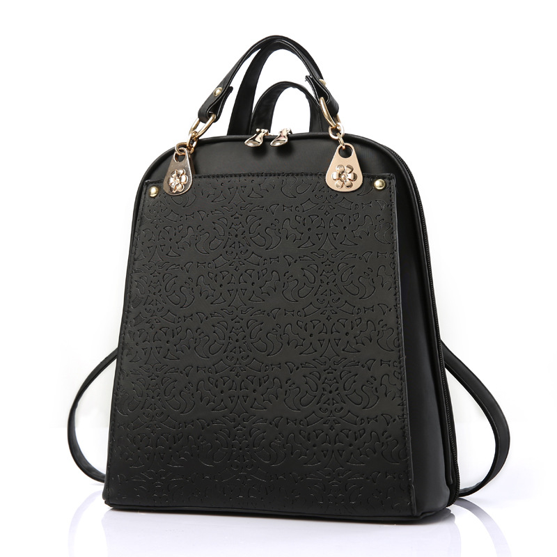 High Quality Backpack Women 2017 Embossed Fashion Black Brand Back Pack School Bag For Teenagers Girls Mochila de la mujer