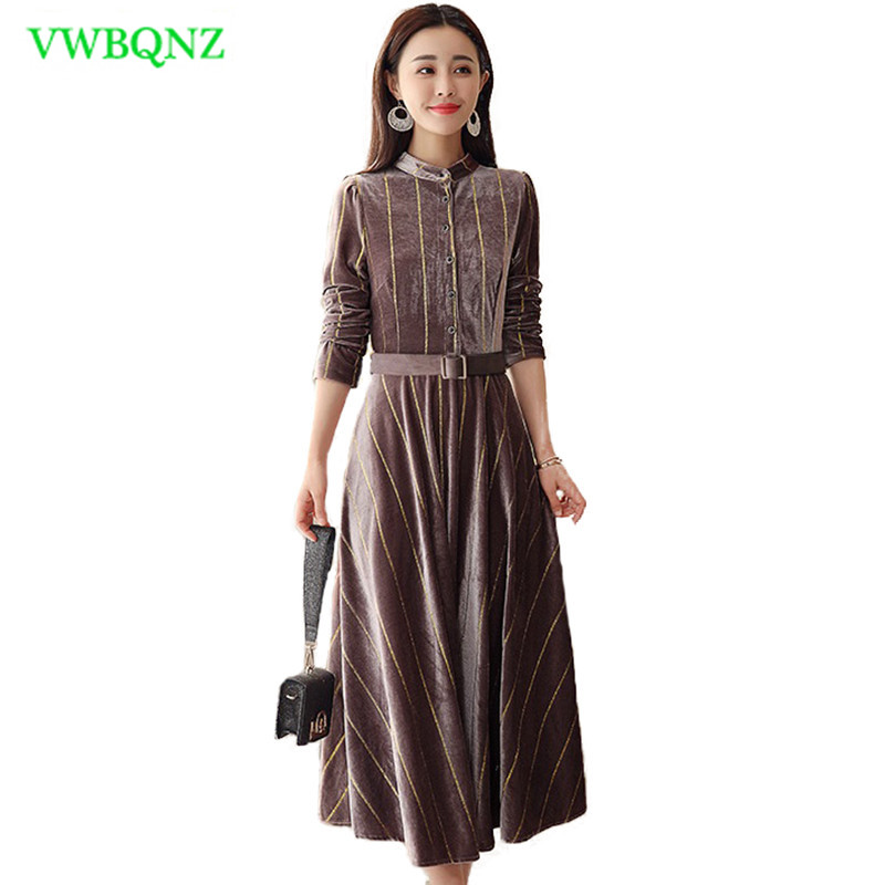 Gold Velvet Dress Women's Clothing Spring High Quality Thin Over The Knee Long Base Dress Women Striped Plus Size Dress 4XL A13