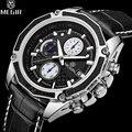 2016 homem megir relógio homens assistir famosa marca de luxo chronograph relógios dos homens de couro casual homens relógio de pulso reloj hombre whatch