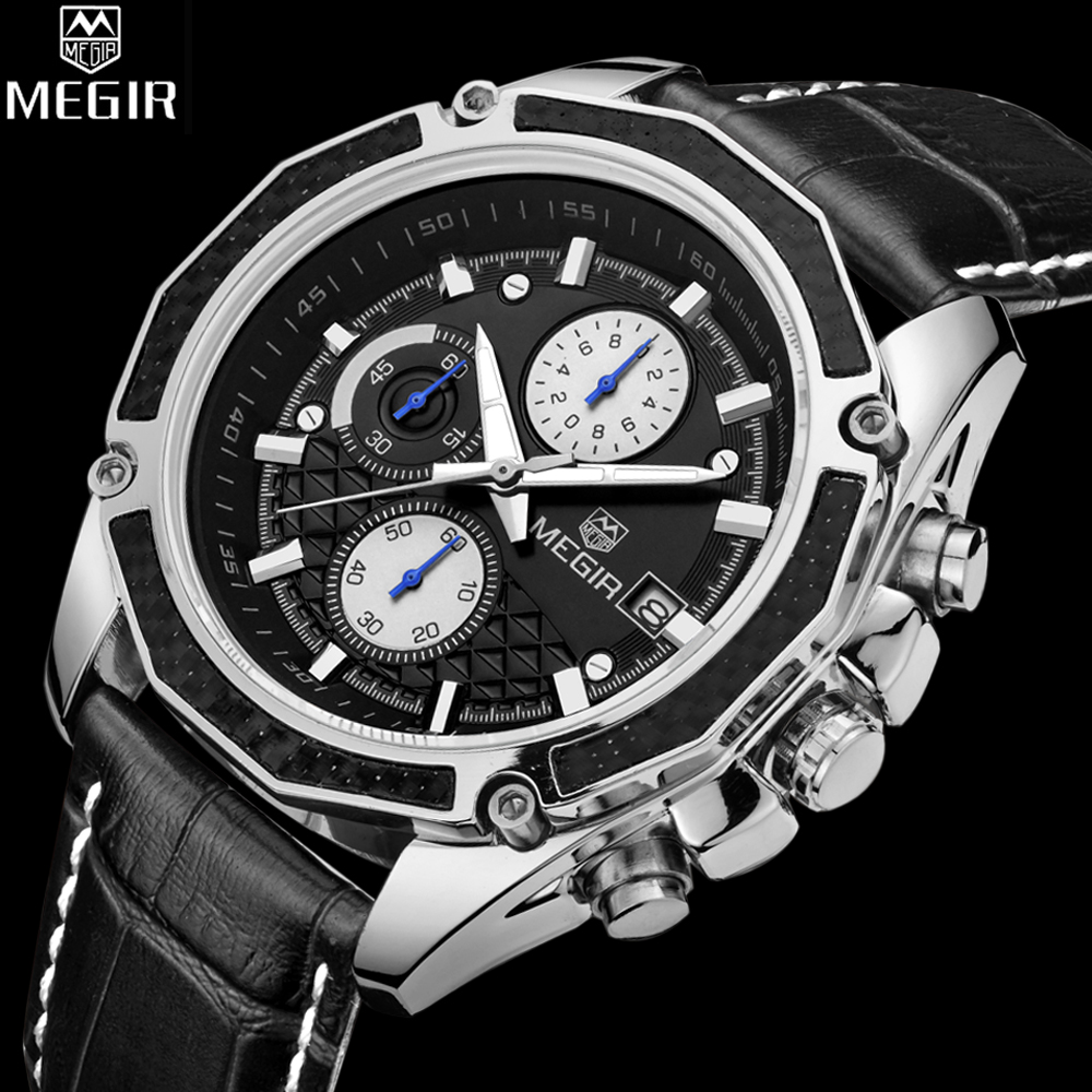 Prix pour 2017 Megir Hommes Montres De Luxe Marque Célèbre Montres Hommes Chronographe Montres Hommes En Cuir Casual Whatch Quartz-Montre Relojes Hombre