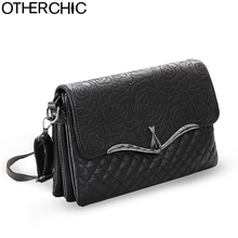 OTHERCHIC Women Black Crossbody Bag Rose Pattern Clutch Bag Women Messenger Bags Office Lady Women Handbag Shoulder Bag A796