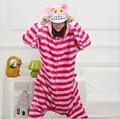 2016 Unisex Adulto Flanela Sono Vermelho Casaco Listrado Gato de Cheshire Conjuntos de Pijama Oneises Tudo em Um Cosplay Mulheres Conjuntos de Pijama pijama