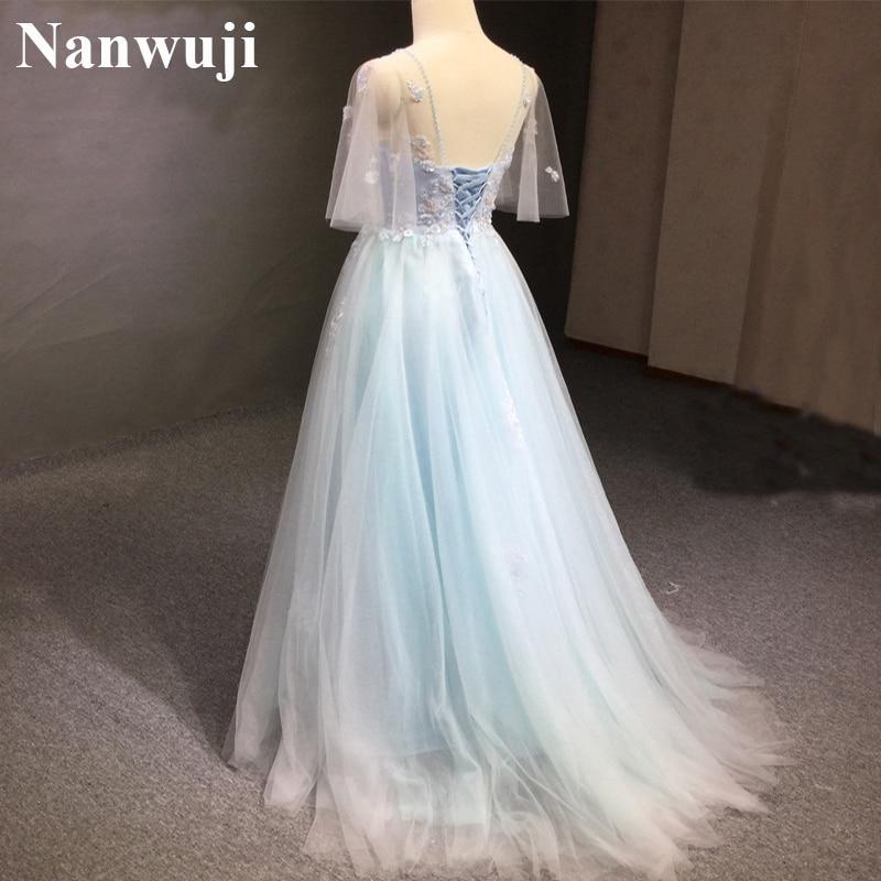 Wedding Dress robe de mariee Real Photo Wedding Gowns A Line Half Sleeves Wedding Dresses Light Blue Tulle vestido de noiva 2017 in Wedding Dresses from Weddings Events