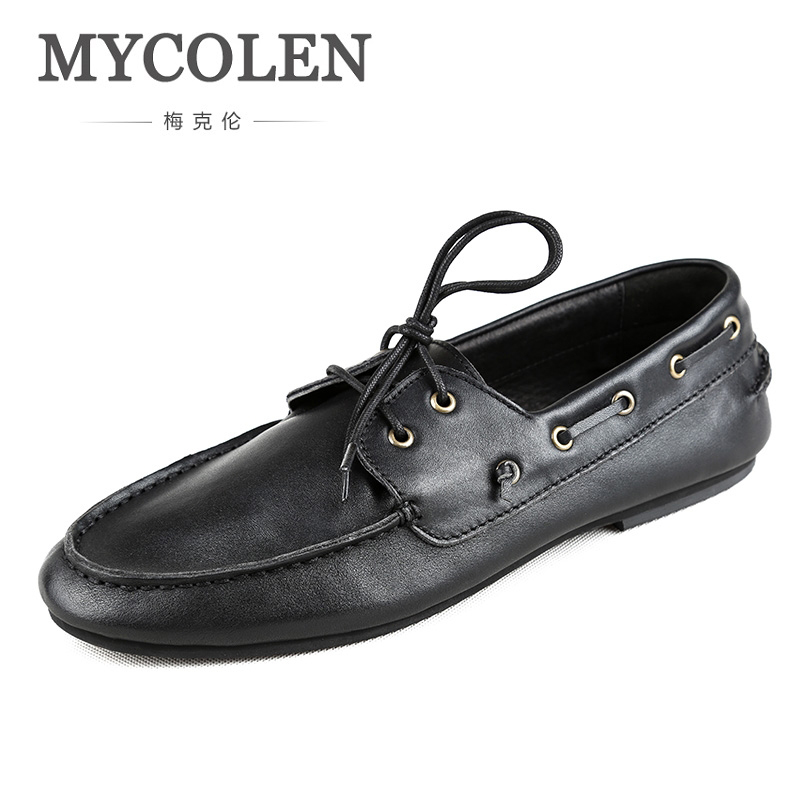 MYCOLEN Men Loafers Men Leather Shoes Luxury Designers Slip On Moccasins Men'S Boat Shoes Comfort Casual Male Shoes Lace-Up serene brand cow leather boat shoes men casual lace up shoes lightweight breathable loafers slip on shoes men dress shoes 6200