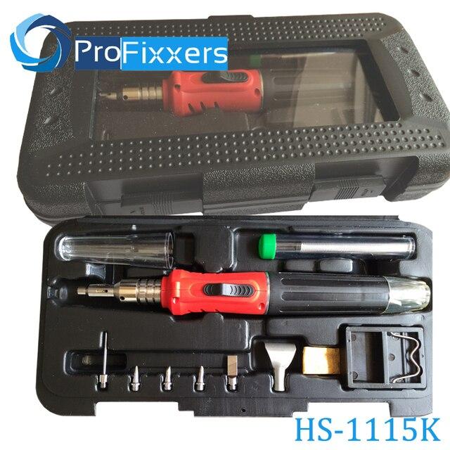 Газовый паяльник с самозажиганием HS 1115K, набор с аккумуляторными паяльными лампами 10 в 1 на основе газа бутана