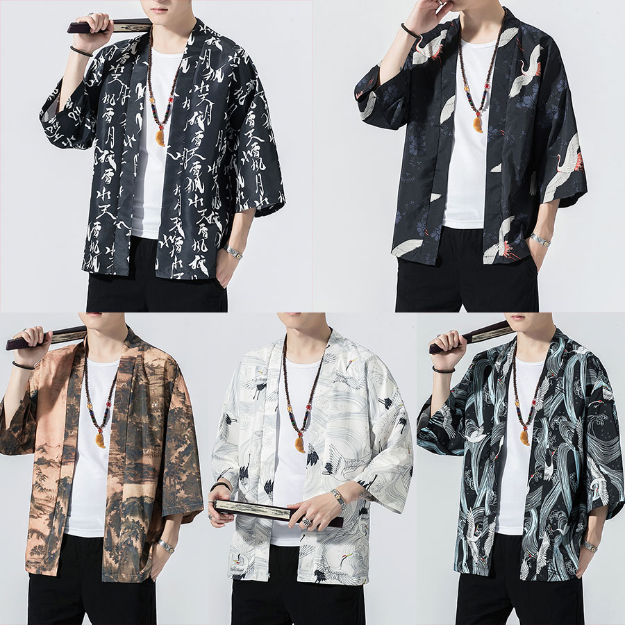 Sinicism Store Men Print Kimono Casual Jackets 2019 Mens Thin Japan Jacket Chinese Style Summer Male Open Stitch Clothing