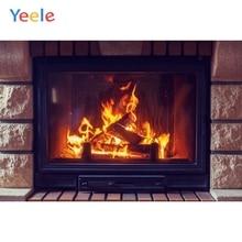 Фон для детской фотосъемки с изображением кирпичной стены камина огня зимы