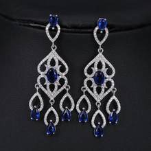 Julies Vivid Dangling 18 pcs 0.3ct Top Grade Princess Cut AAA CZ Chandelier Earrings Women 6 colors JJ10190(China)