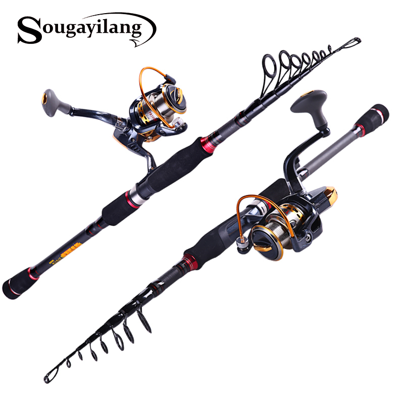 1.8-2.7m Telescopic Carbon Fiber Fishing Rod With 14BB Spinning Fishing Reel Lure Fishing Rod Combo Carp Rod Set Fishing Tackle sougayilang spinning fishing rod set 2 4m carbon telescopic fishing rod pole with dk2000 11bb reel fishing tackle kit rod combo