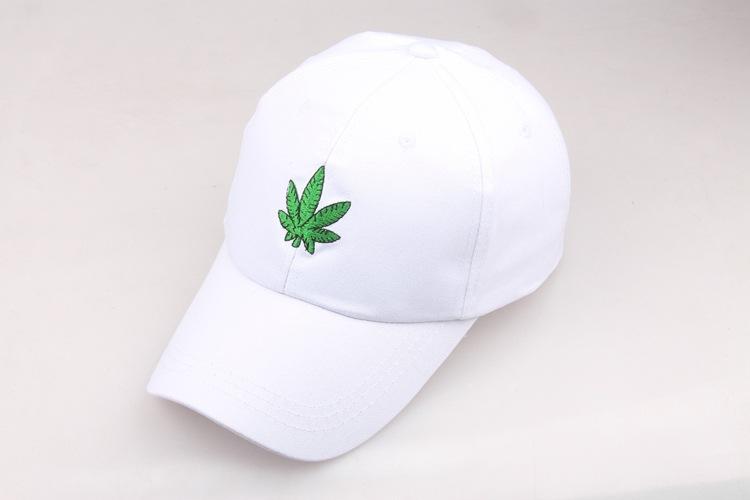 5a0eb889f Hot Sale] 2019 New Fashion Embroidery Maple Leaf White Cap Cotton ...
