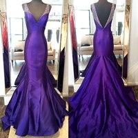 Elegant Evening Dresses Long Purple Mermaid Evening Dress Vestidos De Noiva Floor Length Mermaid Evening Formal Dress Women Gown