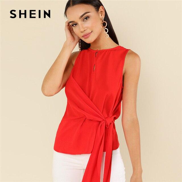 Шеин элегантные красные с круглым вырезом без рукавов на пуговицах Замочная скважина узел спереди основа блузка летняя Для женщин выходные Повседневная рубашка Топ