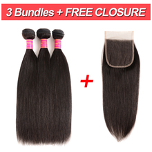 цена на VIOLET Brazilian Straight Hair Bundles With Closure 4x4 Free Part 4pcs/lot Non-Remy Human Hair Extensions Natural Color