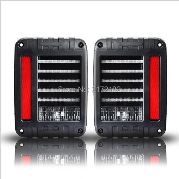 2pcs LED Reverse Brake Taillights tail led light Replacement Tail Light For 07-15 Jeep Wrangler CJ JK TJ 6 x 8 flat mount led tail light plug play replacement for jeep wrangler jk