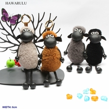 HAWARULU 1pcs 6*22cm DIY Cartoon animation sheep pompon key bionic plush doll toy car pompom  creativity christmas gift fetival