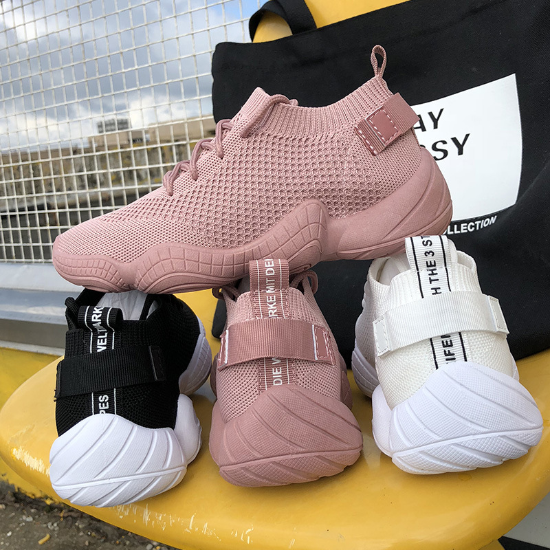 SWYIVY  Platform Sneakers Women Casual White Shoes Women Sneakers 2019 Spring New Shoes Female Knitting Sock Ladies Shoe Flat