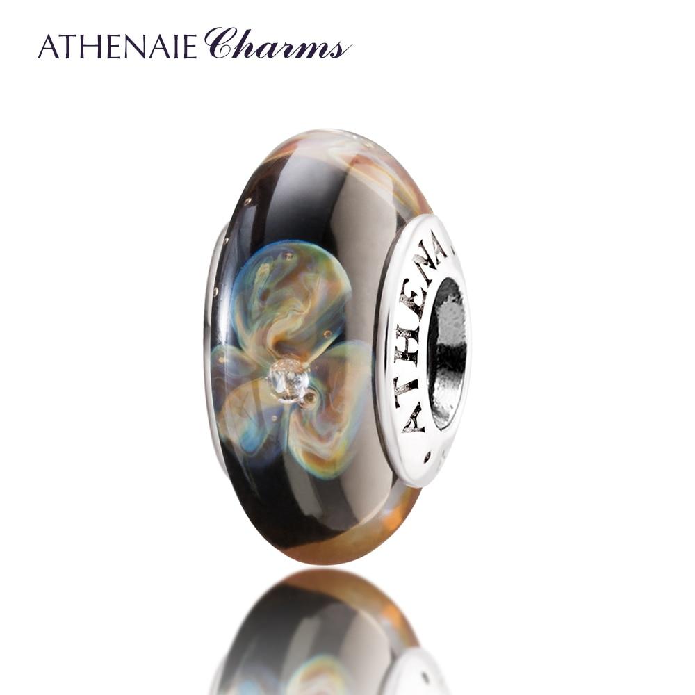 ATHENAIE Genuine Murano Glass 925 Silver Core <font><b>Flowers</b></font> Charms Bead Fit All European Bracelets Fine Jewelry