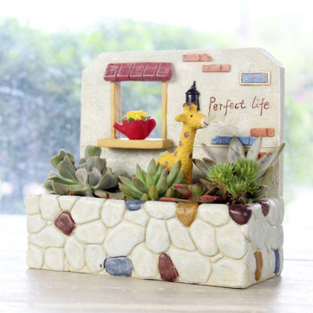 House Bonsai Pots Resin Flower Pot For Succulent Plants Home Decor
