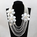 New Fashion Pearl Necklace 7 Rows White Beaded Chain Necklace Handmade Shell Flower For Wedding Free Shipping Wholesale FP074