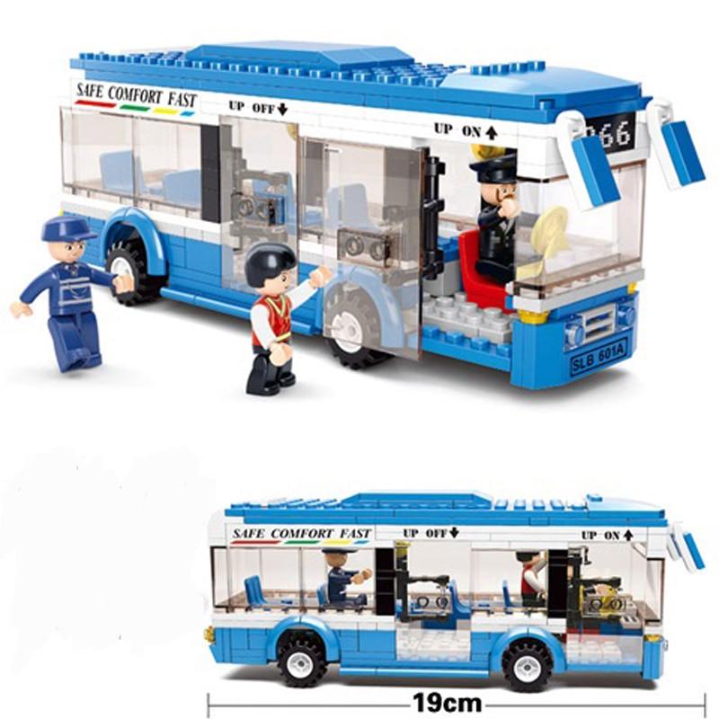 Sluban 0330 Blue Bus Building Blocks Set LegoINGly City Bus Educational Bricks toy for Children gift