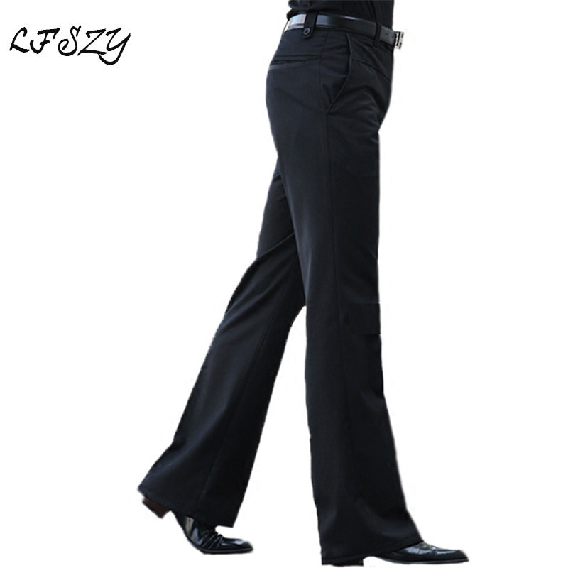 2020 New Men's Flared Trousers Formal Pants Bell Bottom Pant Dance White Suit Pants Size 28 29 30 31 32 33 34 36 37
