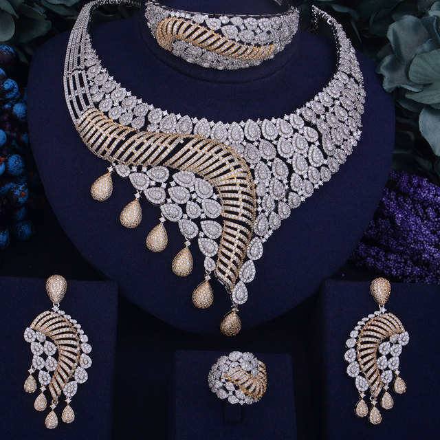 GODKI New Luxury Women Nigerian Wedding Naija Bride Cubic Zirconia Necklace Dubai 4PCS Jewelry Set Jewellery Addiction