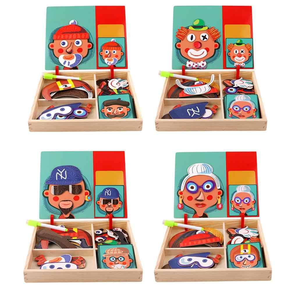 6 Gaya Anak-anak Puzzle Magnetic Anak-anak 3D Mainan Edukasi Magnetic Stiker Berdandan Magnetik Bermain Puzzle Kotak Hadiah Natal RZ1019