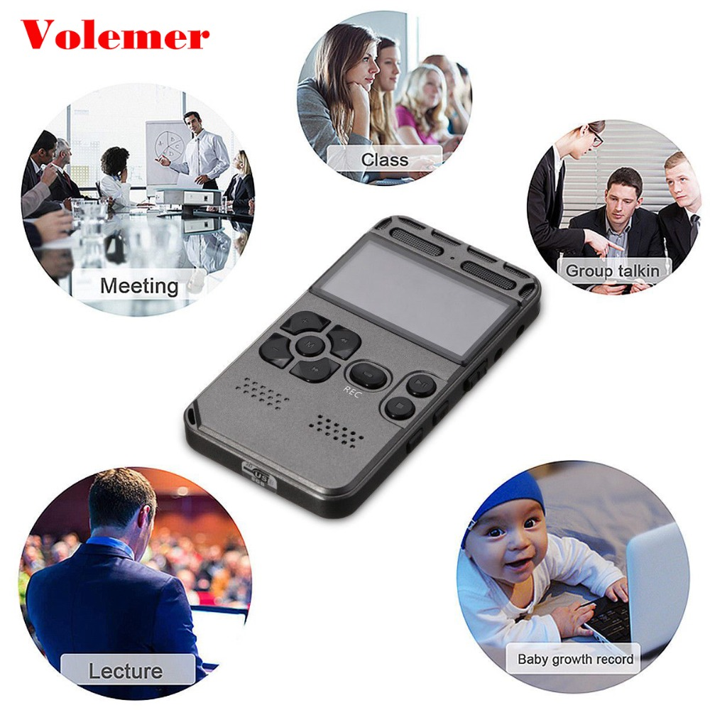 Volemer New 8GB-64G Rechargeable LCD Digital Audio Sound Hifi Voice Recorder Professional dictphone Noise Reduction MP3 Player