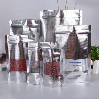 500Pcs/Lot 3.9''x5.9'' (10x15cm) Aluminum Foil Clear Window Zip Lock Stand Up Pouch For Snack Coffee Storage Pack Resealable Bag