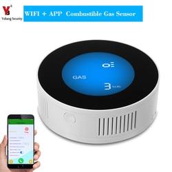 Yobang segurança wi fi sem fio detector de gás alarme sensor de vazamento de gás detector de vazamento de gás natural com controle app