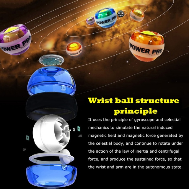 Wrist Ball Gyroscope Powerball Wrist Exerciser Power Strengthener Force Ball Gyro Athletic Wristball Hand Spinner with LED Speed 4