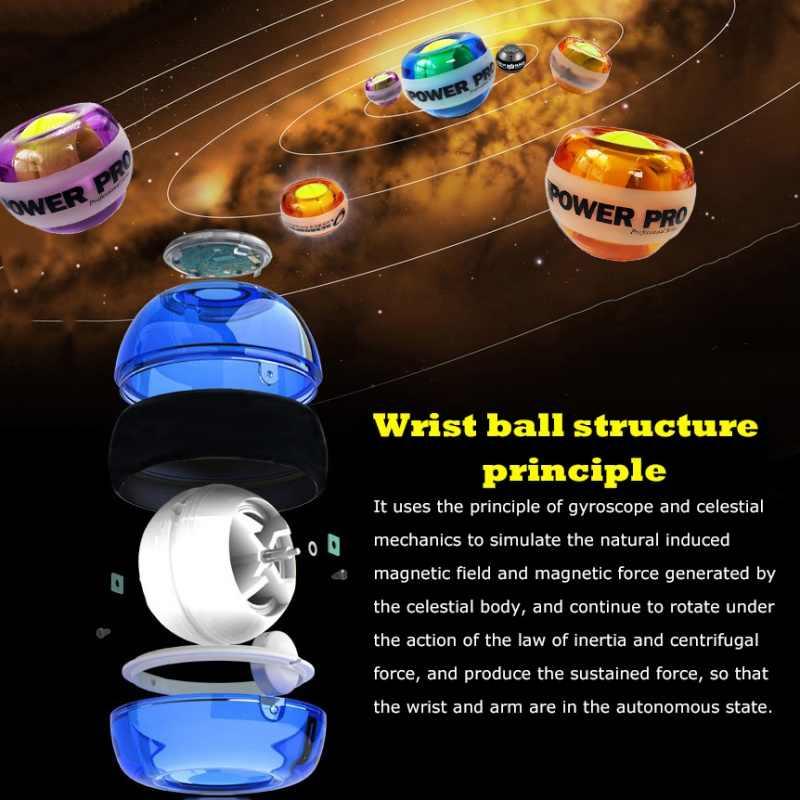 Handgelenk Ball Gyroskop Powerball Handgelenk Exerciser Power Handgelenk-stärkungsmittel-ball Kraft Ball Gyro Sportlich Wristball Hand Spinner mit LED Geschwindigkeit