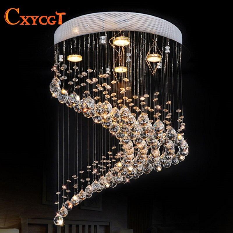 Nouveau design moderne en spirale encastré K9 cristal éclairage lustre lustre cristal maison lumières Dia50 * H55cm