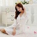 Бесплатная доставка женщин кружева большого размера с пижамы Большой размер халат комплект халат пижамы ночная рубашка ночь платье A890-1